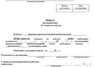 Приказ на отзыв из отпуска в связи с производственной необходимостью: образец и пример заявления