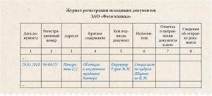 Журнал регистрации входящих и исходящих документов: образец, форма